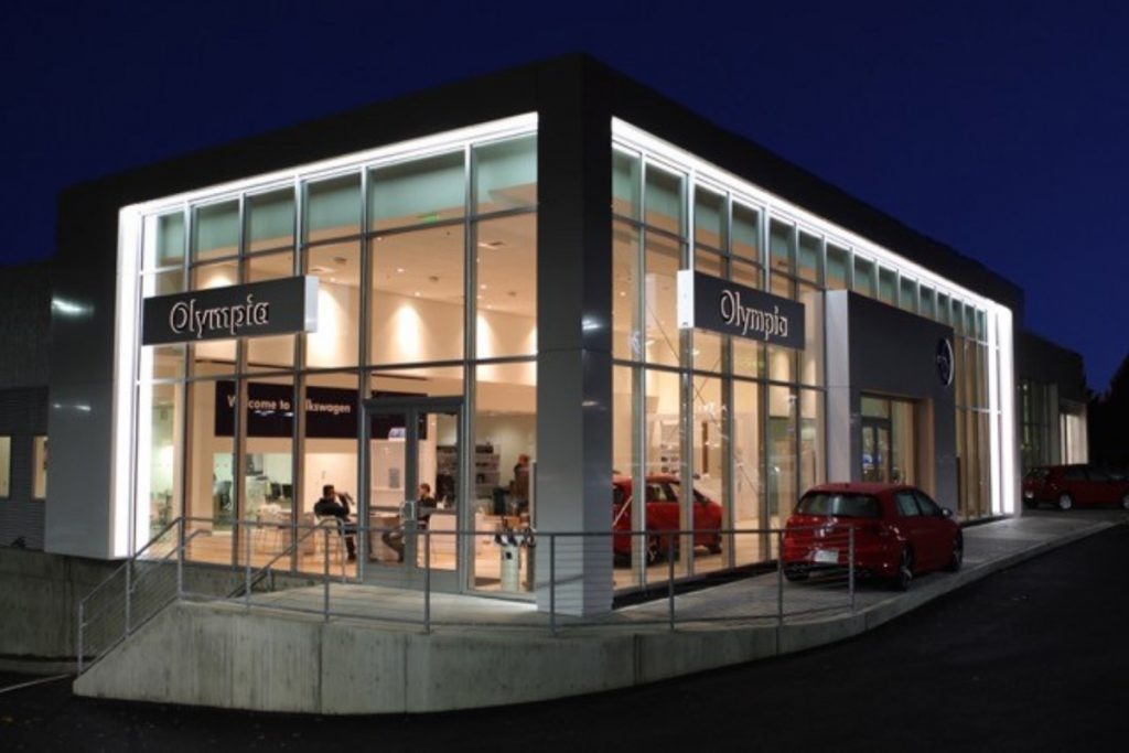 Volkswagen of Olympia, WA at Night - Completed Project